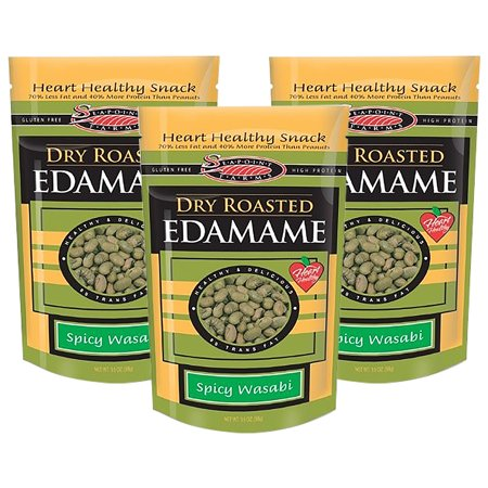 (3 Pack) Seapoint Farms Dry Roasted Edamame, Wasabi, 3.5 oz Pouches](Edamame Appetizer)