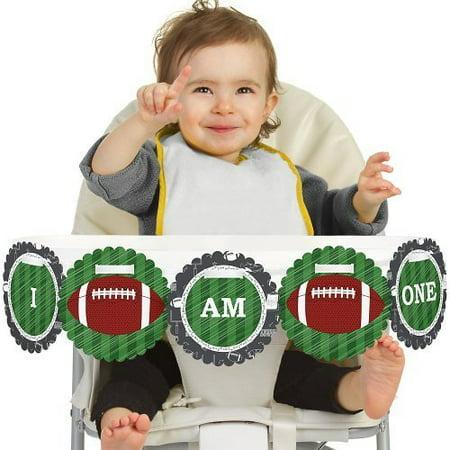 Football Themed Birthday (End Zone - Football 1st Birthday - I Am One - First Birthday High Chair)