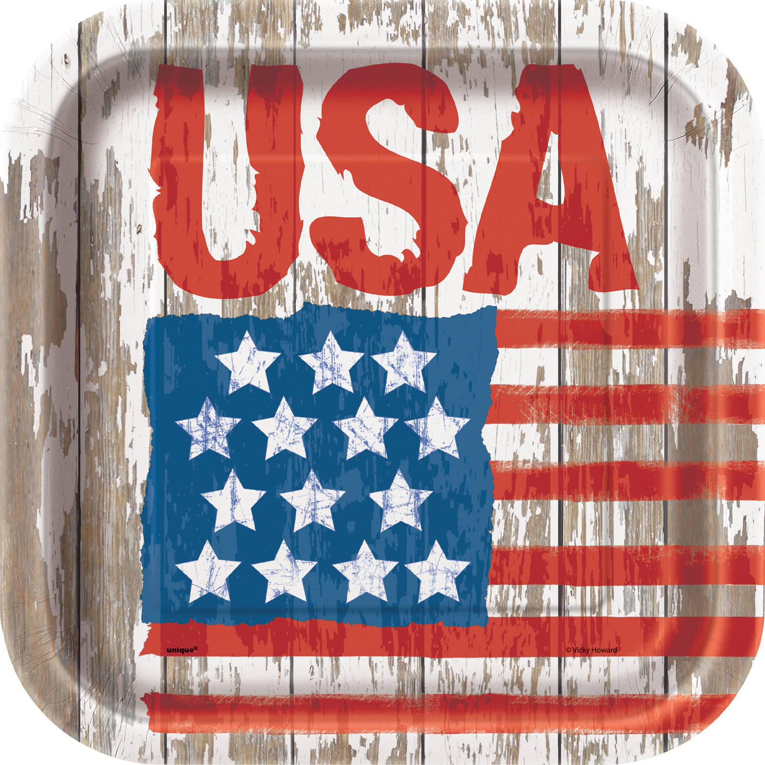 Square Vintage American Flag Paper Plates, 9 in, 8ct