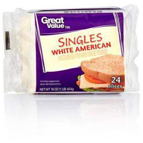 Great Value White American Cheese Singles, 16 oz, 24 Count