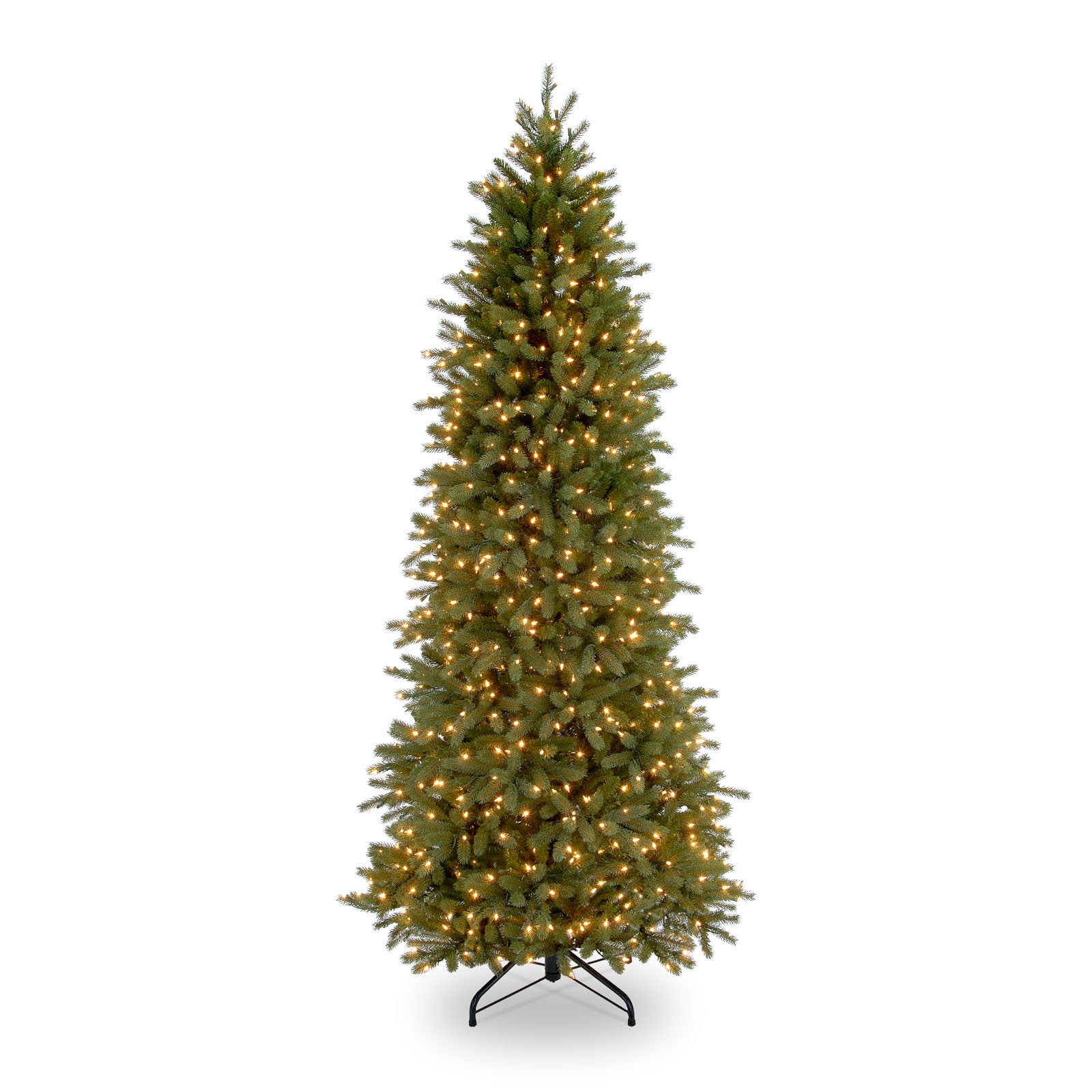 National Tree Pre-Lit 7-1/2 Feel-Real Jersey Fraser Pencil Slim Fir Hinged Artificial Christmas Tree with 650 Clear Lights