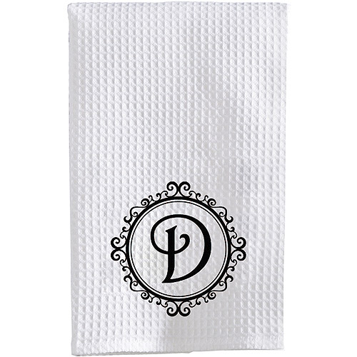 Personalized Initial Waffle Weave Towel, Black Font