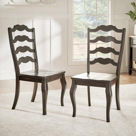 Weston Home Farmhouse Dining Chair with French Ladder Back (Set of 2)