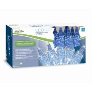 Set of 35 Blue LED Icicle Shaped Christmas Lights - Green Wire