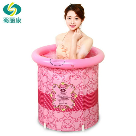 Heavy Duty Adult Size Folding Bathtub, Inflatable Bath tub, Portable Bathtub, Plastic Bathtub , Folding Bath Bucket, Bath tub (Pink)