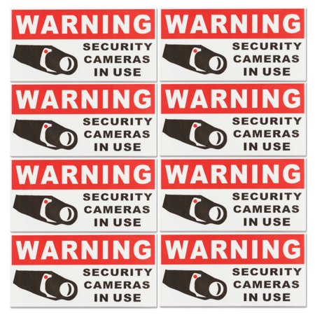 8pcs Vinyl CCTV Video Surveillance Security Camera Sticker Security Burglar Alarm Warning Sticker Sign Decal Self Adhesive Home Office Work School Business Indoor Outdoor MATCC - Cctv Stickers