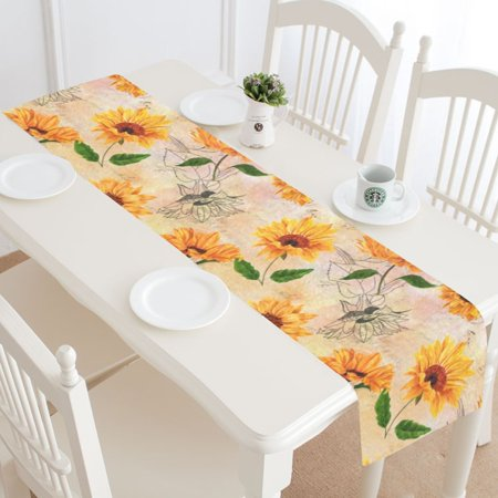 MYPOP Summer Sunflower Table Runner Home Decor 14x72 Inch,Sunflower Floral Table Cloth Runner for Wedding Party Banquet Decoration (Wedding Table Floral Decorations)