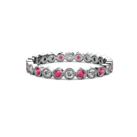 Ruby & Diamond 2mm Bezel Set Milgrain Eternity Band 0.52 to 0.62 Carat tw 14K White Gold.size 7.5