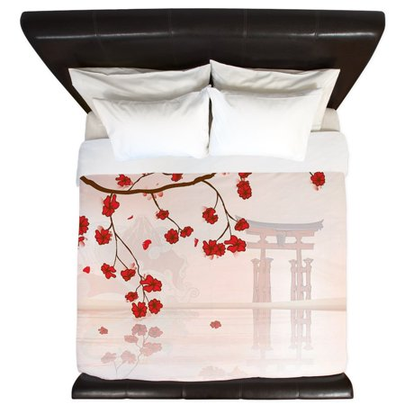 CafePress - Pretty Cherry Blossom Against A Japanese Backgroun - King Duvet Cover, Printed Comforter Cover, Unique Bedding, Microfiber