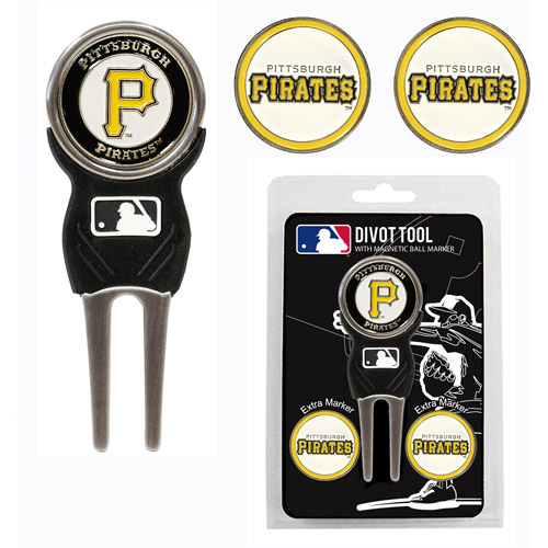 Team Golf MLB Pittsburgh Pirates Divot Tool Pack With 3 Golf Ball Markers