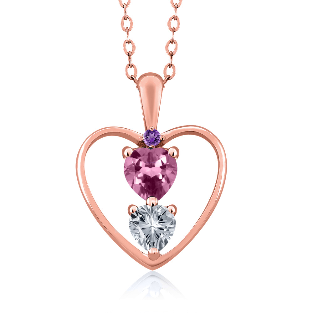 0.69 Ct Pink Tourmaline With Diamond Accent 14K Rose Gold Heart Pendant by