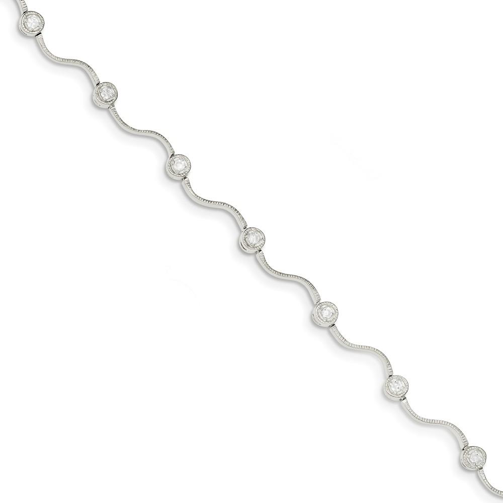 Sterling Silver Round CZ Bracelet