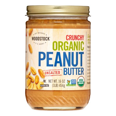Woodstock Farms Organic Peanut Butter, Crunchy Unsalted, 16 Oz Farms Peanut Butter