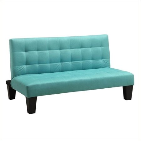 Pemberly Row Microfiber Junior Convertible Sofa In Teal