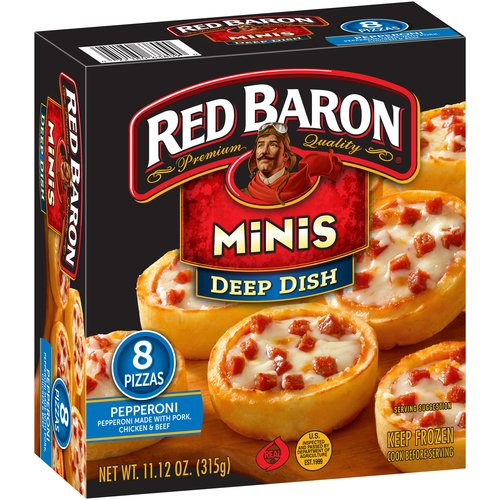 Red Baron® Minis Deep Dish Pepperoni Pizza 8 ct Box