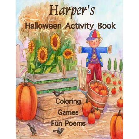 Harper's Halloween Activity Book: (Personalized Books for Children), Halloween Coloring Book, Games: Mazes, Connect the Dots, Crossword Puzzle, Print