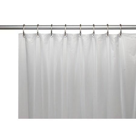Frosted Clear 3 Gauge Vinyl Shower Curtain Liner With Weighted Magnets And Metal Grommets