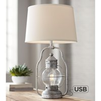 Franklin Iron Works Rustic Industrial Table Lamp with USB Port Nightlight LED Distressed Silver Off White Linen Shade for Bedroom