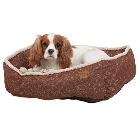 - Petmate MuttNation Fueled by Miranda Lambert Lambswool Tooled Leather Printed Lounger Dog Bed