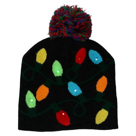 Flashing Christmas Hats (Flashing Lights Holiday Christmas Beanie)