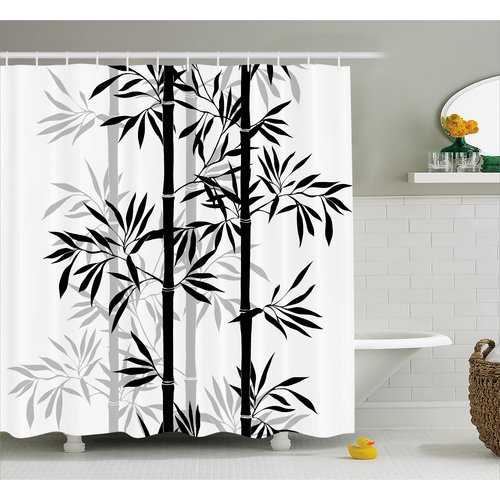 Bloomsbury Market Basil Bamboo Tree Leaves Zen Shower Curtain