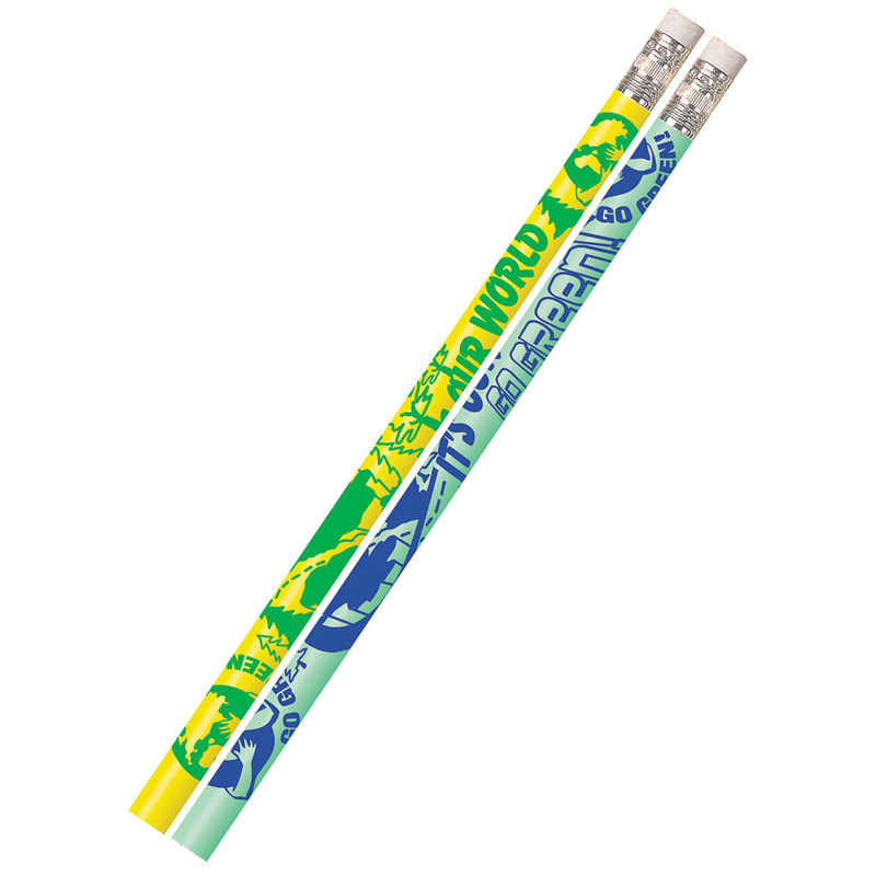 ITS OUR WORLD GO GREEN 12PK MOTIVATIONAL FUN PENCILS