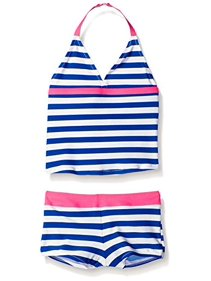 0840d2f1a3 OshKosh B Gosh Little Girls  Cobalt Blue Stripe Pink Ruffle Tankini Swim  Suit-