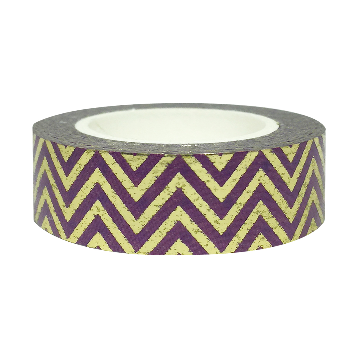 Wrapables® Colorful Washi Masking Tape, Purple and Gold Super Chevron