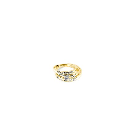 14K Yellow Gold 0.10ctw Stunning Channel Set Diamond Center Flower Trio Set Ring 14k Diamond Trio Set