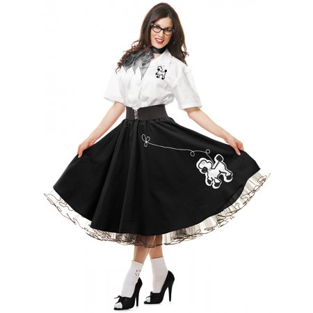 Complete 50's Poodle Outfit Adult Costume Black - Large](Adult Nurse Outfit)