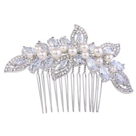 AIMO Femmes CZ Crystal Cream Simulé Perle Feuille de mariée cheveux côté peigne clair ton argent