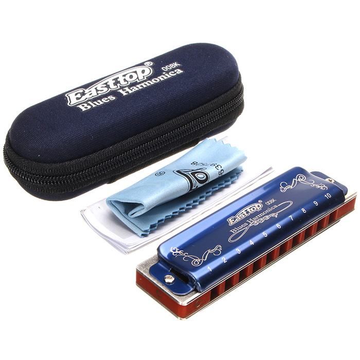 Easttop T008K Professional 10 Holes 20 Tones Diatonic Harmonica Mouth Organ for Blues Rock Jazz Folk KEY OF A B C D E F G  Portable +Box+Clean Cloth