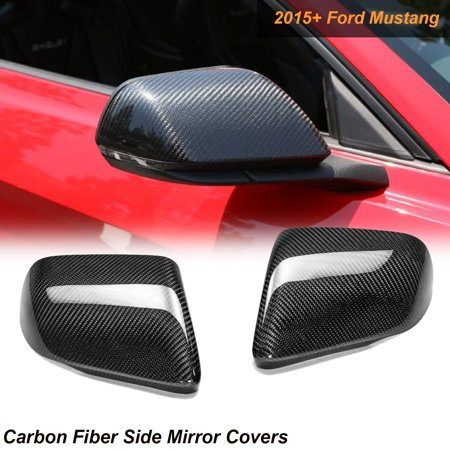 Xotic Tech 1 Set Carbon Fiber Side Mirror Covers Caps For 2015-2017 Mustang with LED Turn Signal