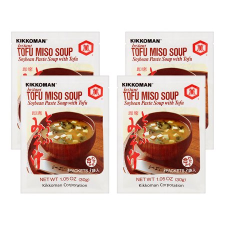 (4 Pack) Kikkoman Soybean Paste With Tofu Instant Soup, 1.05 oz