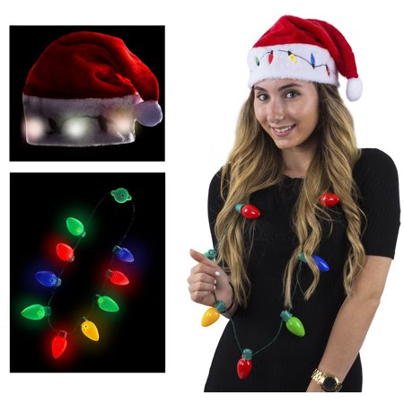 Christmas Hats For Kids.Funny Party Hats Blinking Santa Hats Christmas Light Necklaces Led Santa Hat For Adults And Kids
