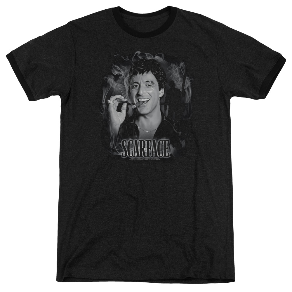 Scarface Smokey Scar Mens Adult Heather Ringer Shirt