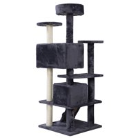 "GHP Gray 52""x20"" Polyester Wool Particleboard Sisal Rope Scratching Post Cat Tree"