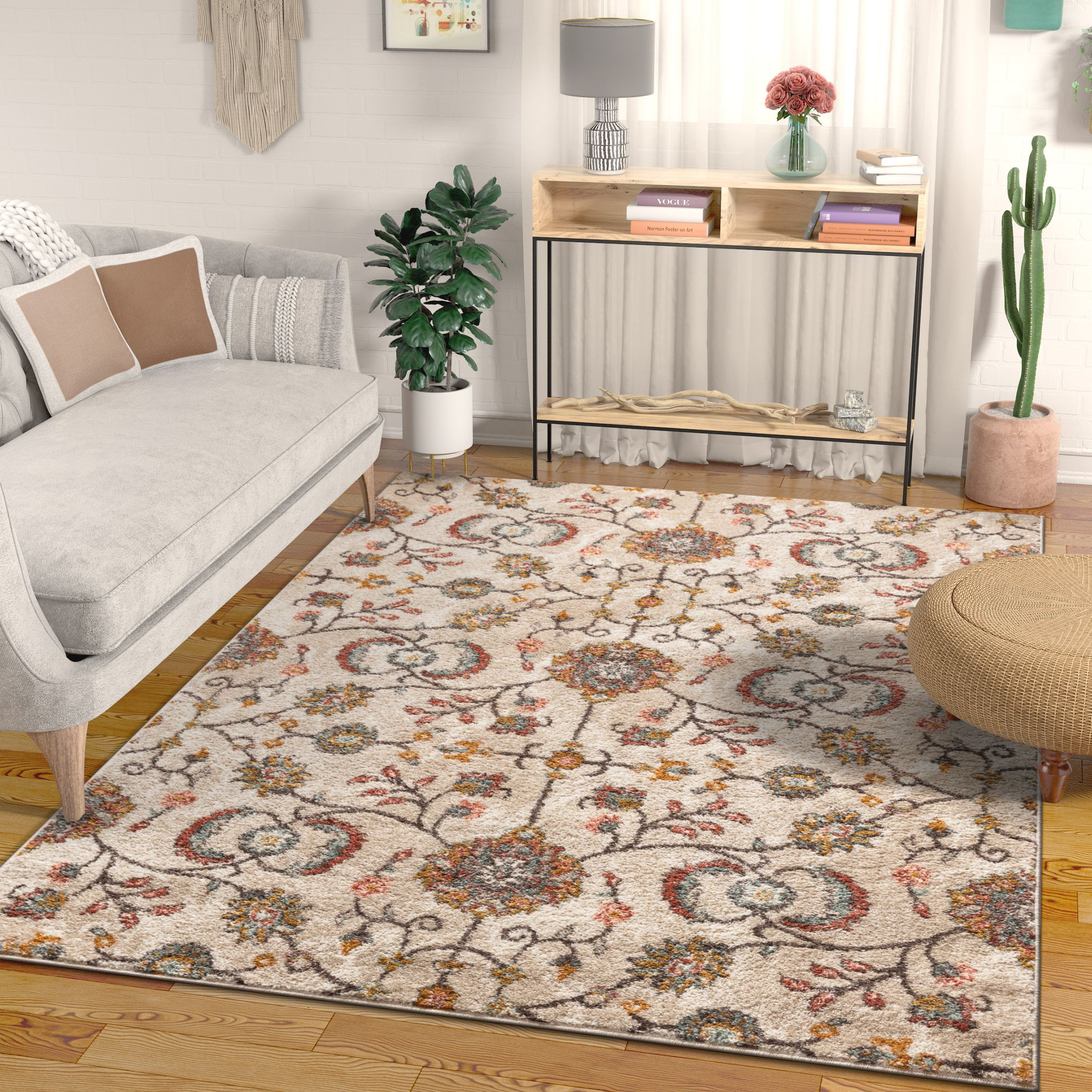 "Well Woven Ensley Boho Persian Vintage Beige & Blush Pink Multicolor Area Rug 5x7 (5'3"" x 7'3"")"
