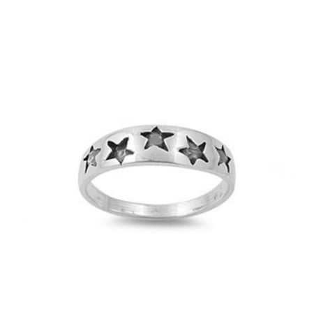 925 Sterling Silver Stars Baby Ring With Cubic Zirconia