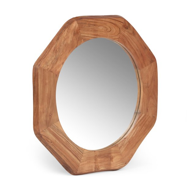 Ferrat Rustic Handcrafted Acacia Wood, Natural Carved Wood Round Mirror
