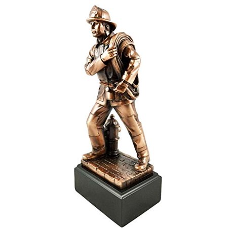Men of Duty Fireman Fire Fighter Carrying Hose With Base Bronze Electroplated Figurine (Fireman With Hose)