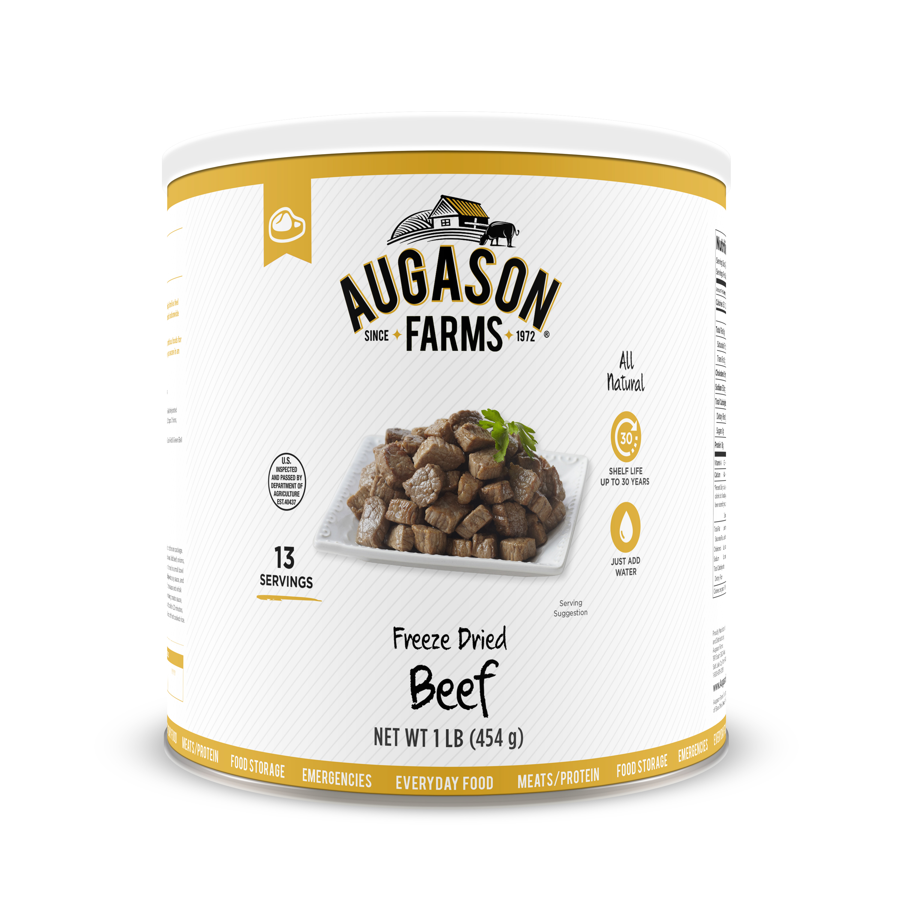 Augason Farms Freeze Dried Beef Chunks 1 lb No. 10 Can by Blue Chip Group