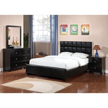 Black Faux Leather 4pc Set Bedroom Furniture Full Size Bed Square Tufting Upholsery HB Dresser Mirror Nightstand ()