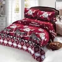 4pcs Polyester Fiber 3D Printed Cartoon Merry Christmas Gift Santa Claus Deep Pocket Bedding Set Bedclothes Cover Bed Sheet 2 Pillowcases