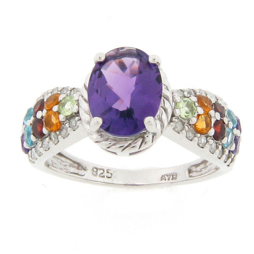 Meredith Leigh Designs Sterling Silver Amethyst and Multi Gemstone Ring
