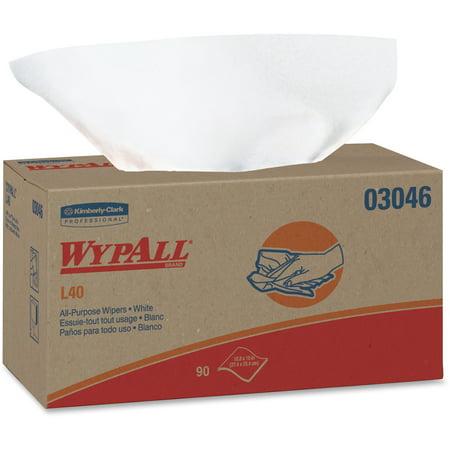 WypAll L40 Towels, POP-UP Box, White, 10 4/5 x 10, 90/Box, 9 Boxes/Carton -KCC03046