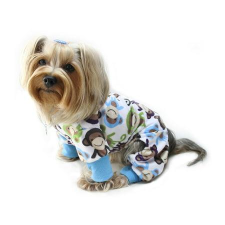 Dog/Puppy Minky Monkey Plush Pajamas/Bodysuit/Loungewear/PJ/Coverall/Jumper/Romper for Small Breeds (Puppy Monkey)