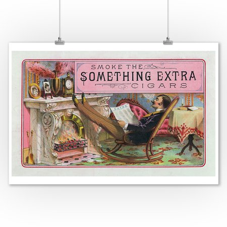 Something Extra Brand Cigar Inner Box Label (9x12 Art Print, Wall Decor Travel Poster)