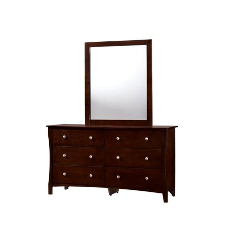 Furniture Of America Chase Dresser And Mirror Set In Brown Cherry