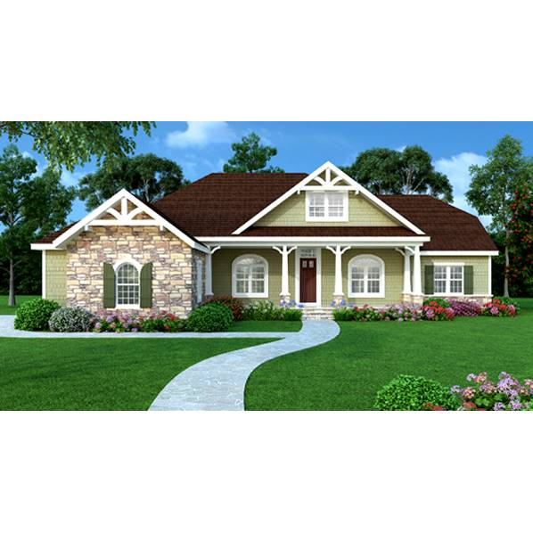 TheHouseDesigners-4937 Ranch House Plan with Crawl Space Foundation (5 Printed Sets)